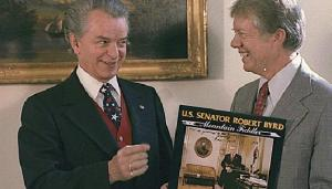 "Byrd presents his album ""Mountain Fiddler"" to President Carter"