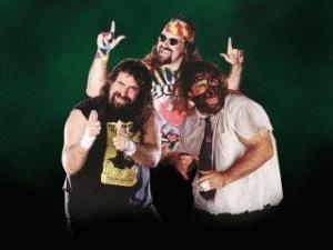 Mick Foley as Cactus Jack, Dude Love and Mankind.
