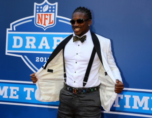 Cordarrelle Patterson.  Minnesota drafted his belt and bow tie 29th.  I think they got him, too.