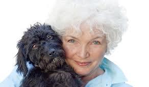 Fionnula Flanagan with a puppy
