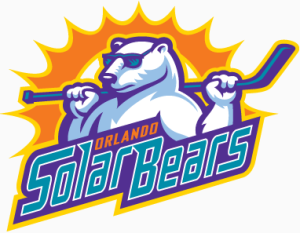 "The pretty releaxed Orlando Solar Bears mascot. In other news, I'm told the team play in ""Solar purple, seafoam green, sunset orange, sunrise gold, and white""."