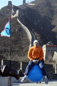 Ashrita setting the record for fastest mile on a kangaroo ball... while on the Great Wall of China!