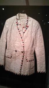 A PAPER jacket worn by Björk Guðmundsdóttir, and designed by Hussein Chayalan.