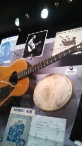 A banjo head and guitar used by recently deceased folk legend Pete Seeger, husband of Toshi, and father of many funny named children and stepchildren. RIP Pete!