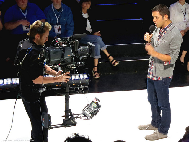 Strombo Looking at a Teleprompter