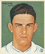 "Mel Ott,  looking as if he just tried to sign his name ""Wambgnass."""