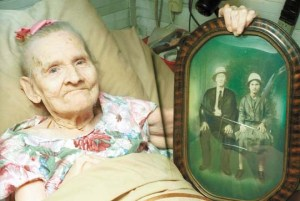 Gertrude in her later years, with a photo from her early ones!