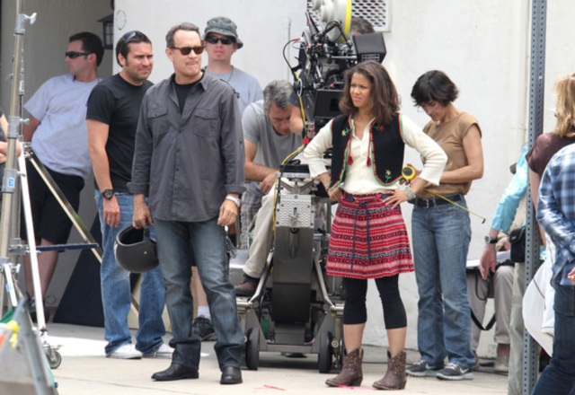 Searching for the renegade Vespas with Tom Hanks on the set of 'Larry Crowne.' (Getty Images)
