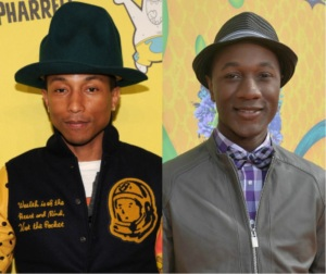 Pharrell Williams, left, has the funnier hat and bigger hit, but Aloe Blacc, right earns this coveted BoFN post! (Getty Images)