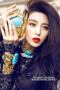 Fan Bingbing, seen here holding a giant golden...something.