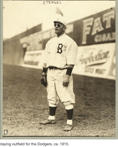Casey Stengel playing for the Brooklyn Dodgers in 1919. (From Wikipedia)