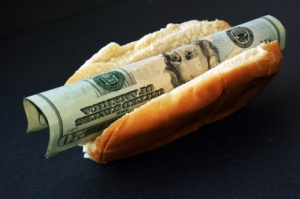 Hot dog filled and stuffed with cash.
