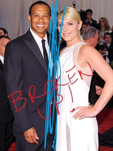 "Eldrick Tont ""Tiger"" Woods and Lindsey Vonn, in the rough. Original art by the BoFN's very own Dave!"