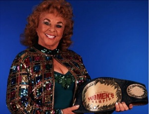 Regaining her title 40 years later. (Photo from onlineworldofwrestling.com)