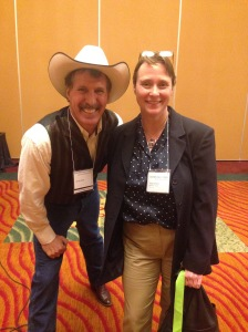 Larger than life cowboy author, Carew Papritz. Okay maybe it's because I'm not that tall.