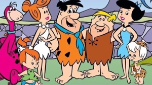 Wilma, Fred, Barney and Betty, with Dino, Pebbles and Bam-Bam. (From article.wn.com)