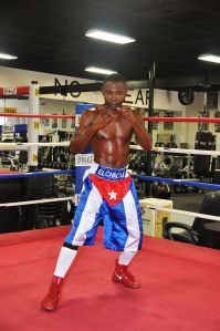 Guillermo Rigondeaux, wearing Captain America-ish pants... which I would do to if I defected from Cuba to become a pro boxer in America! Defecting from Cuba... is that even a thing anymore?